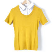 【MASTINA】假兩件短袖針織上衣-黃 10411
