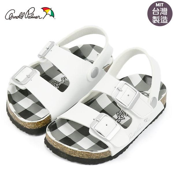 ARNOLD PALMER 雨傘牌 配色格紋可調式百搭涼鞋.氣墊涼鞋 黑14-20號~EMMA商城
