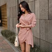 超殺29折 韓系襯衣V領系帶連身裙氣質顯瘦長袖洋裝