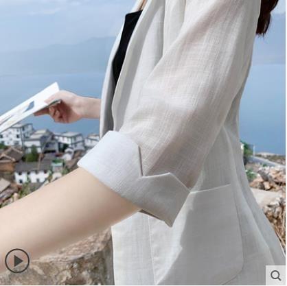 西裝外套 薄款亞麻西裝女2021春夏季新款英倫風休閑百搭棉麻小西服大碼外套 霓裳細軟