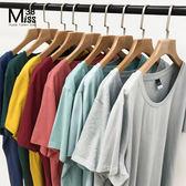 Miss38-(現貨)【A04708】百搭基本款 圓領 多色 純棉純色 彈力內搭 短袖 上衣 大碼T恤-中大尺碼