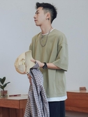 假兩件短袖t恤男潮流夏季寬鬆半袖港風大碼潮五分袖 韓國時尚週