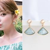 【NiNi Me】耳環 氣質清新扇形水晶貓眼石925銀針耳環 夾式耳環 E0234