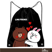imitu 【LINE FRIENDS】MIT束口後背袋(A款_Kiss_熊大兔兔情侶款)