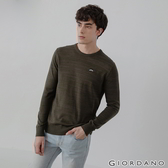 【GIORDANO】男裝刺繡圓領針織衫 - 05 花紗飛行綠
