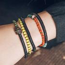 琉璃小珠撞色混搭木珠手鍊個性多層手串手飾/設計家