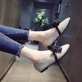 單鞋女夏2019新款復古奶奶鞋蝴蝶結春平底小皮鞋韓版百搭淺口鞋子
