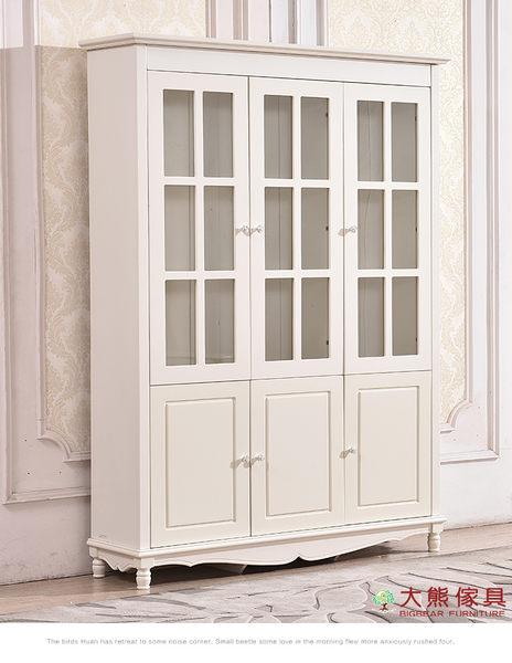 【大熊傢俱】杏之韓 HE018-3 韓式 三門書櫃 玻璃櫃 置物櫃 收納櫃 儲物櫃 鄉村田園風