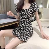 洋裝復古短袖小雛菊洋裝女夏季新款收腰減齡氣質赫本風碎花短裙 暖心生活館