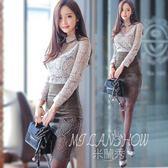 職業洋裝 韓版時尚鏤空長袖蕾絲上衣 包臀修身顯瘦連身裙套裝 米蘭shoe