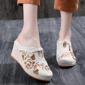 秋新款提花棉繡花拖鞋 民族風搭配高坡跟布藝包頭拖鞋女單鞋