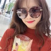 新款太陽眼鏡女粉茶色大框墨鏡大臉偏光防紫外線ins眼鏡 優尚良品
