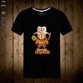 Qoqozozodota2文字圖案T恤大碼短袖 寬松透氣吸汗 個性新潮全印花