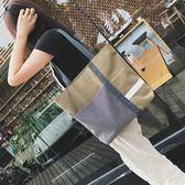 購物包 帆布包韓版單肩百搭包文大容量手提包牛仔布袋【韓國時尚週】