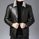 羽絨外套-白鴨絨毛領加厚保暖皮衣男夾克2色73zd33【巴黎精品】