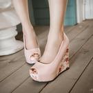 浪漫淺口印花碎花厚底魚口露趾楔型鞋-粉/白/藍33-41【no-520965213279】