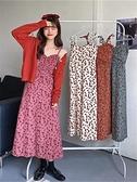 碎花洋裝復古燈芯絨吊帶長裙子2021女春季新款收腰顯瘦法式碎花背心連身裙 韓國時尚週