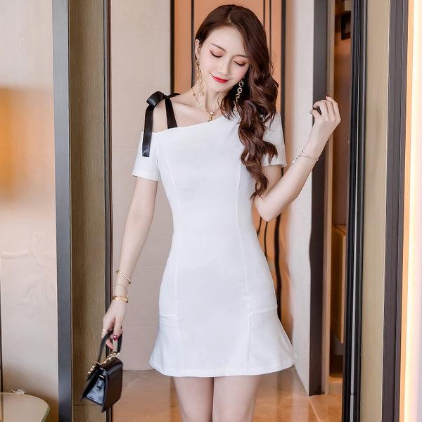 VK旗艦店 韓國名媛風斜肩吊帶裙修身顯瘦性感包臀短袖洋裝