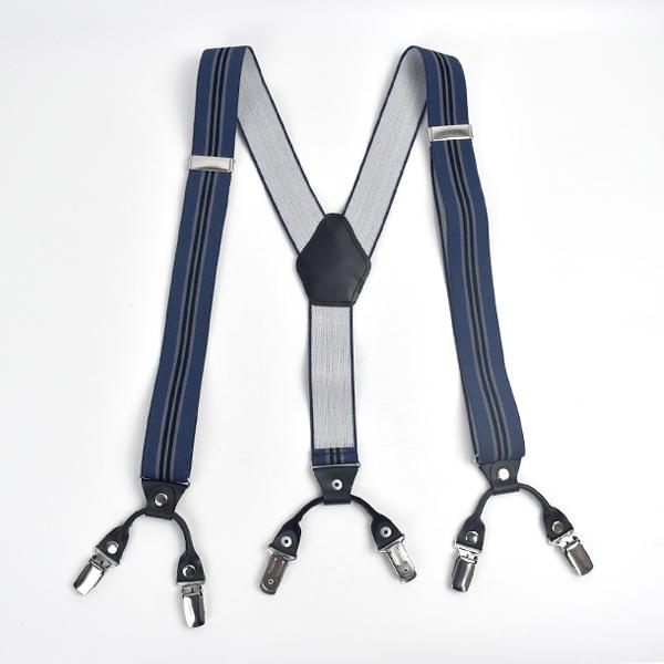 吊帶 率性復古藍條紋雙扣NKD34