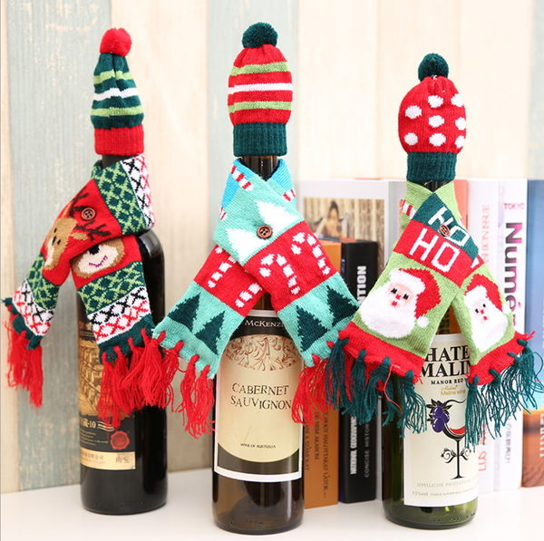 新款聖誕酒瓶裝飾 聖誕針織圍巾帽子套裝 聖誕紅酒瓶裝飾─預購CH2419