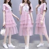 裙子仙女超仙森系網紗仙女印花氣質過膝蛋糕裙洋裝 連身裙