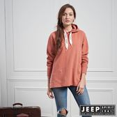 【JEEP】女裝 時尚素面長袖帽TEE (橘)