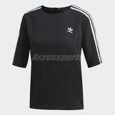adidas 短袖T恤 3 Stripes Tee 黑白 女款 三條線 五分袖 【PUMP306】 DX3695
