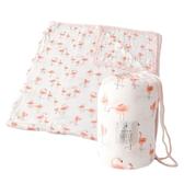 美國 Little Unicorn 竹纖維四層紗布毯加大版-附收納袋-熱帶紅鶴