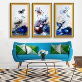 客廳裝飾畫豎版三聯畫禪意掛畫沙發背景白牆壁畫現代簡約抽象油畫·享家生活館IGO