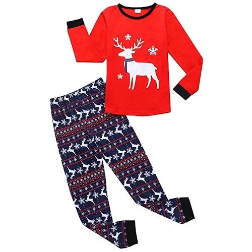 女孩聖誕鹿套裝睡衣
