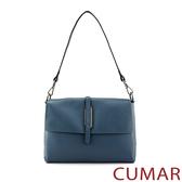 CUMAR 極簡設計真皮翻蓋肩/斜背包-藍色