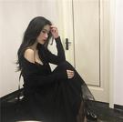 蕾丝吊带拼接素色百搭时尚小心机设计感连衣裙仙女复古chic小黑裙