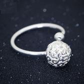 戒指 925純銀-雕刻圓球生日情人節禮物女開口戒73dt461【時尚巴黎】