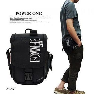 Powerone直式簡約造型腰包掛包 斜背包 側背包 8784