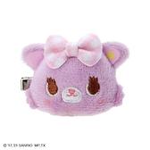 小禮堂 甜夢貓 造型絨毛鐵髮夾 玩偶髮夾 瀏海夾 小髮夾 (紫色格紋) 4550337-50615