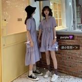 紫色春裝2020年新款夏娃娃蛋糕洋裝子仙女洋裝閨蜜套裝姐妹 米娜小鋪