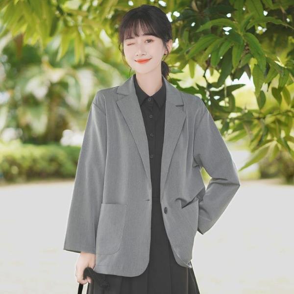 西裝外套 2021新款秋冬寬鬆純色小西服百搭休閒短外套女學生炸街西裝