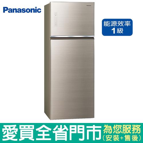 (1級能效)Panasonic國際485L雙門玻璃冰箱NR-B489TG-N(翡翠金)含配送到府+標準安裝【愛買】