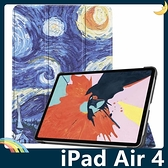 iPad Air 4 10.9吋 2020版 彩繪多折保護套 側翻皮套 卡通塗鴉 三折支架 超薄簡約 平板套 保護殼