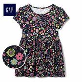 Gap女嬰幼童 妙趣印花短袖圓領長款上衣 430155-藏青色