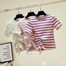 短袖t恤女裝ins潮年新夏季時尚修身t桖港風條紋體恤短款上衣 檸檬衣舍