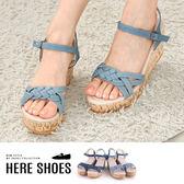 [Here Shoes]涼拖鞋牛仔帆布丹寧跟高7.5cm楔型厚底涼鞋─AD17-8