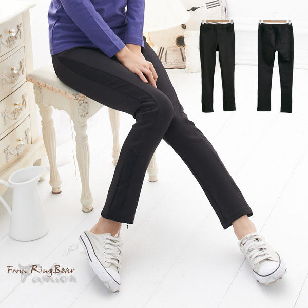 長褲--運動最佳單品羅紋拼接設計超彈性透氣排汗長褲(黑2L-5L)-P48眼圈熊中大尺碼
