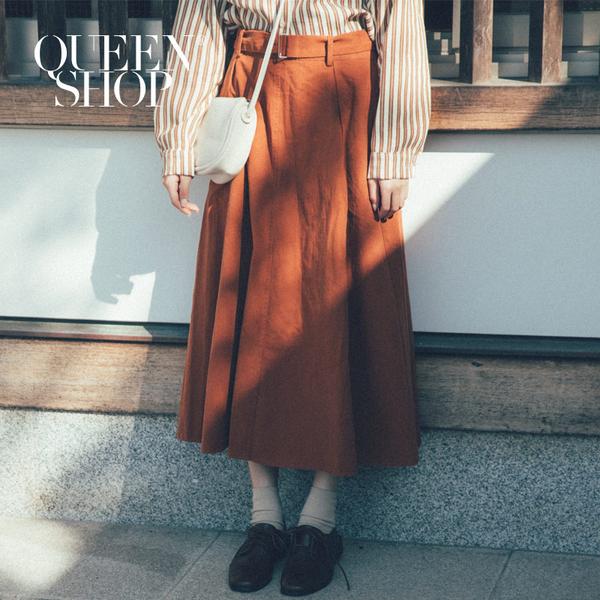 Queen Shop【03020565】腰帶造型鬆緊大裙擺長裙 兩色售 S/M*現+預*