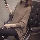 不規則高領寬鬆套頭毛衣女新款秋冬韓版蝙蝠袖針織打底衫女潮 koko時裝店