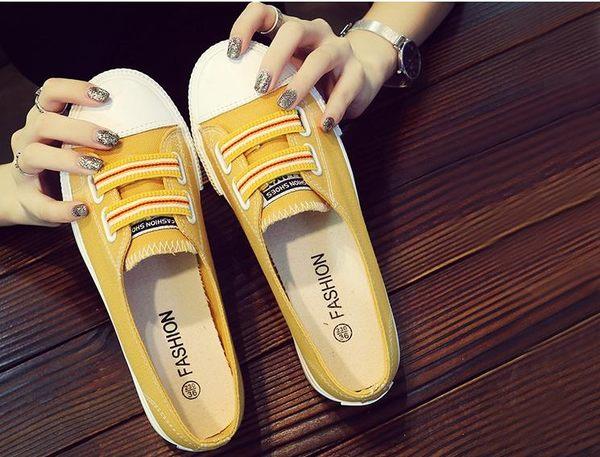 新款小白帆布鞋韓版學生百搭平底懶人布鞋夏季一腳蹬女鞋   新年下殺