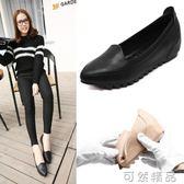 新款尖頭淺口小碼33豆豆鞋黑色工作鞋女內增高韓版百搭單鞋女  可然精品鞋櫃