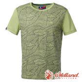 【wildland 荒野】男 棉感抗UV圓領印花上衣『淺綠』0A61682 T恤 上衣 休閒 戶外 登山 印花