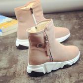 雪地靴2018冬季鞋子粉色大童短靴女高中學生韓版加絨靴子保暖棉鞋