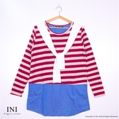 【INI】清新氣質、條紋拼接牛仔口袋長版上衣.暗紅色